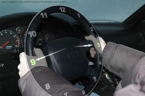 Tyre burst - 9 and 3 style of holding steering