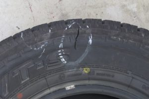 Tyre burst - Tire sidewall damage photo